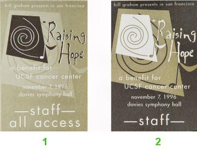 Linda Ronstadt Backstage Pass from Davies Symphony Hall on 07 Nov 96: Pass 2