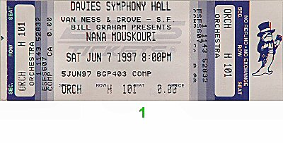 Nana Mouskouri 1990s Ticket from Davies Symphony Hall on 07 Jun 97: Ticket One