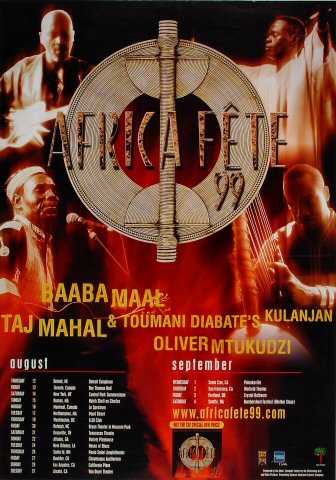 "Baaba Maal Poster from Detroit on 12 Aug 99: 24"" x 36"""
