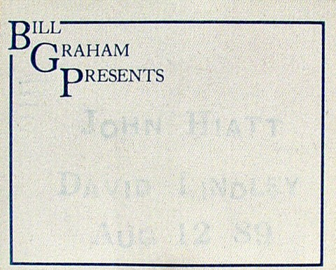 John Hiatt Backstage Pass from Dunsmuir House on 12 Aug 89: Pass 1