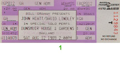 John Hiatt 1980s Ticket from Dunsmuir House on 12 Aug 89: Ticket One