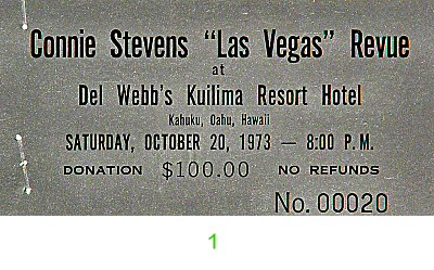 Connie Stevens 1970s Ticket from Del Webb's Kuilima Resort Hotel on 20 Oct 73: Ticket One