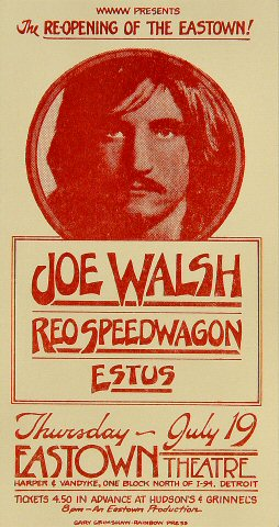 "Joe Walsh Handbill from Eastown Theatre on 19 Jul 73: 3 1/2"" x 6 3/4"""
