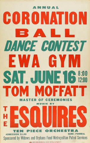 "The Esquires Poster from Ewa Gymnasium on 16 Jun 62: 14"" x 22 1/8"""