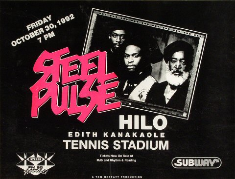 "Steel Pulse Poster from Edith Kanakaole Tennis Stadium on 30 Oct 92: 15 1/4"" x 20"""