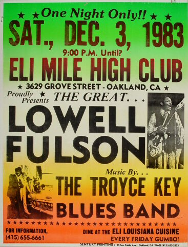 "Lowell Fulson Poster from Eli's Mile High Club on 03 Dec 83: 17"" x 22"""