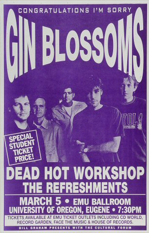 "Gin Blossoms Poster from EMU Ballroom on 05 Mar 96: 11"" x 17"""
