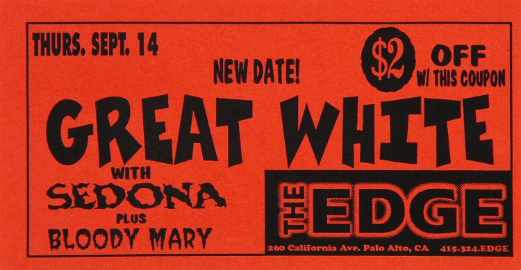 "Great White Handbill from Edge on 14 Sep 95: 2 7/8"" x 5 5/8"""