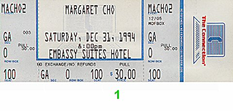 Margaret Cho 1990s Ticket from Embassy Suites Hotel on 31 Dec 94: Ticket One