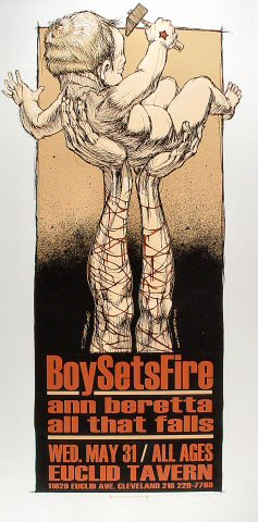 "Boy Sets Fire Poster from Euclid Tavern on 31 May 00: 16 1/4"" x 33"""