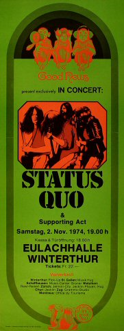"Status Quo Poster from Eulachhalle on 02 Nov 74: 9 5/8"" x 25 1/4"""