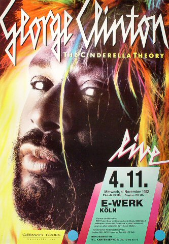 "George Clinton Poster from E-Werk Koln on 04 Nov 92: 23 1/4"" x 33 1/4"""