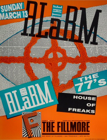 "The Alarm Poster from Fillmore Auditorium on 13 Mar 88: 16 15/16"" x 22"""