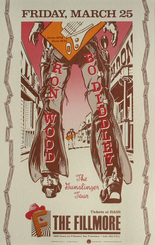 "Ron Wood Poster from Fillmore Auditorium on 25 Mar 88: 12 1/2"" x 20"""