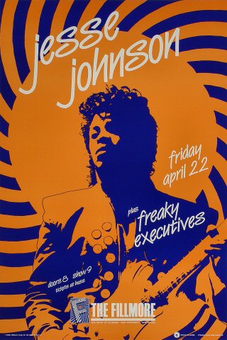 "Jesse Johnson Poster from Fillmore Auditorium on 22 Apr 88: 13"" x 19 1/4"""