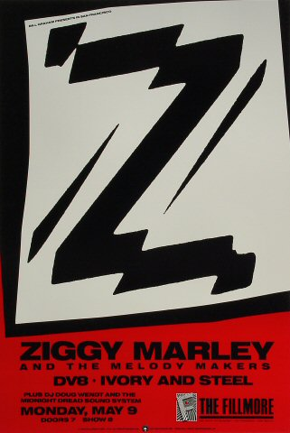 "Ziggy Marley Poster from Fillmore Auditorium on 09 May 88: 13"" x 19 1/4"""