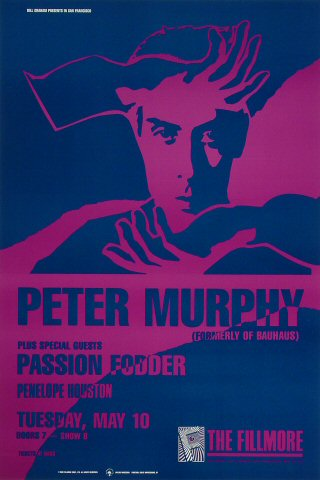 "Peter Murphy Poster from Fillmore Auditorium on 10 May 88: 13"" x 19 1/2"""