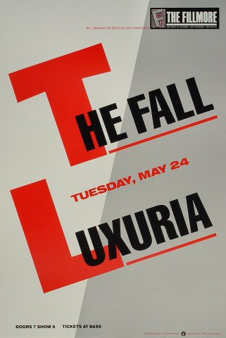 "The Fall Poster from Fillmore Auditorium on 24 May 88: 13"" x 19 1/2"""