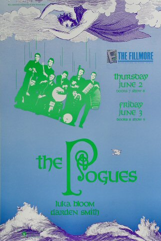 "The Pogues Poster from Fillmore Auditorium on 02 Jun 88: 13 1/8"" x 19 1/4"""