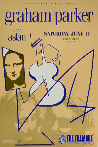 "Graham Parker Poster from Fillmore Auditorium on 11 Jun 88: 13"" x 19 1/2"""