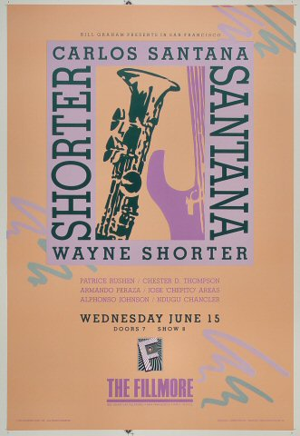 "Carlos Santana Proof from Fillmore Auditorium on 15 Jun 88: 14"" x 20"""