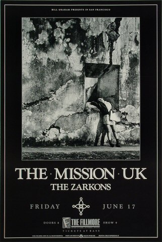 """The Mission U.K. Poster from Fillmore Auditorium on 17 Jun 88: 13 1/4"""" x 19 1/2"""""""