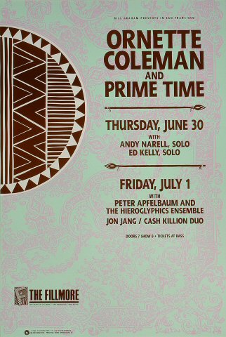 "Ornette Coleman Poster from Fillmore Auditorium on 30 Jun 88: 13"" x 19 1/2"""
