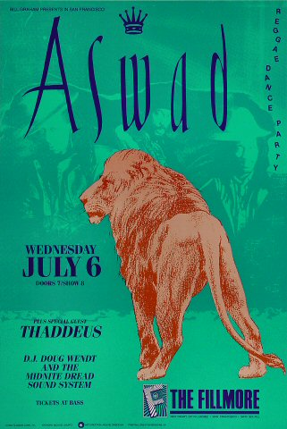 "Aswad Poster from Fillmore Auditorium on 06 Jul 88: 13"" x 19 1/2"""