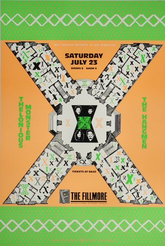 "X Poster from Fillmore Auditorium on 23 Jul 88: 13"" x 19 1/2"""