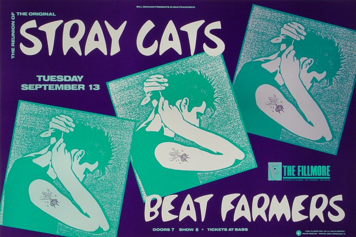 "Stray Cats Poster from Fillmore Auditorium on 13 Sep 88: 13"" x 19 1/5"""