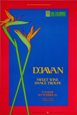 "Djavan Poster from Fillmore Auditorium on 20 Sep 88: 13"" x 19 1/4"""