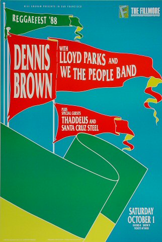 "Dennis Brown Poster from Fillmore Auditorium on 01 Oct 88: 13"" x 19 1/2"""