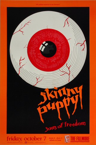 "Skinny Puppy Poster from Fillmore Auditorium on 07 Oct 88: 13"" x 19 1/4"""