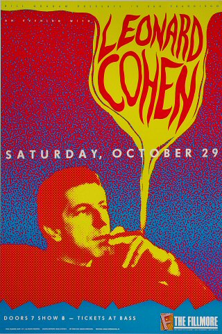 "Leonard Cohen Poster from Fillmore Auditorium on 29 Oct 88: 13"" x 19 1/2"""