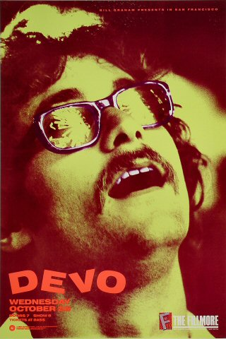 "Devo Poster from Fillmore Auditorium on 26 Oct 88: 13"" x 19 1/2"""
