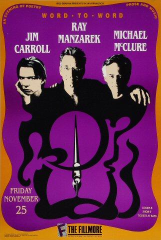 """Jim Carroll Poster from Fillmore Auditorium on 25 Nov 88: 13"""" x 19 1/2"""""""