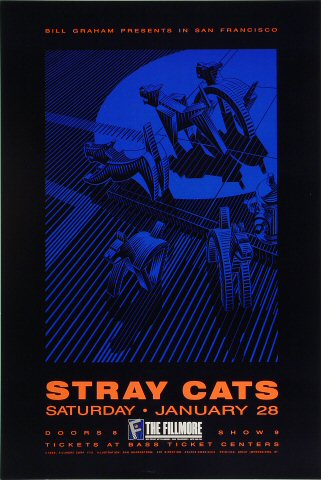 "Stray Cats Poster from Fillmore Auditorium on 28 Jan 89: 13"" x 19 1/2"""
