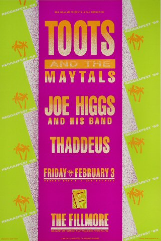 "Toots & the Maytals Poster from Fillmore Auditorium on 03 Feb 89: 13"" x 19 1/2"""
