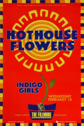 "Hothouse Flowers Poster from Fillmore Auditorium on 15 Feb 89: 13"" x 19 1/4"""