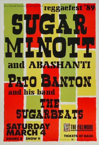 """Sugar Minott Poster from Fillmore Auditorium on 04 Mar 89: 13"""" x 19"""""""