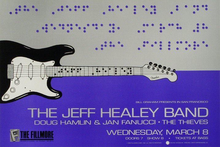 "The Jeff Healey Band Poster from Fillmore Auditorium on 08 Mar 89: 13"" x 19 1/2"""