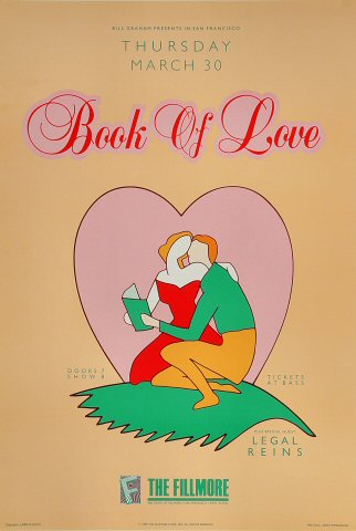 """Book of Love Poster from Fillmore Auditorium on 30 Mar 89: 13"""" x 19 1/4"""""""
