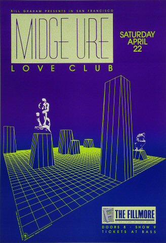 "Midge Ure Poster from Fillmore Auditorium on 22 Apr 89: 13 1/4"" x 19 1/4"""