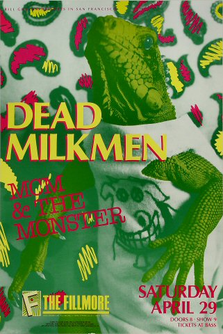 "The Dead Milkmen Poster from Fillmore Auditorium on 29 Apr 89: 13"" x 19 1/2"""