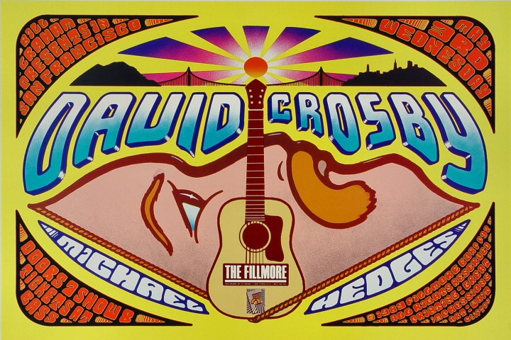 "David Crosby Poster from Fillmore Auditorium on 03 May 89: 13"" x 19"""
