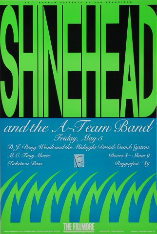 """Shinehead Poster from Fillmore Auditorium on 05 May 89: 13"""" x 19 1/2"""""""