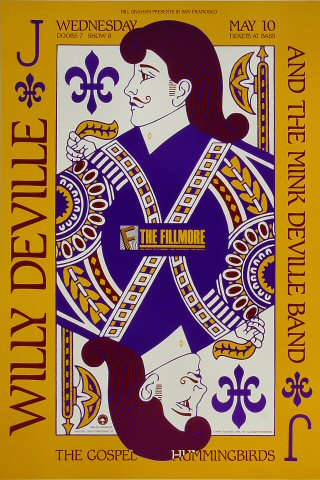 "Willy DeVille Poster from Fillmore Auditorium on 10 May 89: 13"" x 19 1/4"""