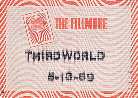 Third World Backstage Pass from Fillmore Auditorium on 12 May 89: Pass 1