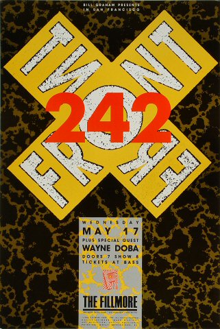 "Front 242 Poster from Fillmore Auditorium on 17 May 89: 13"" x 19 1/2"""