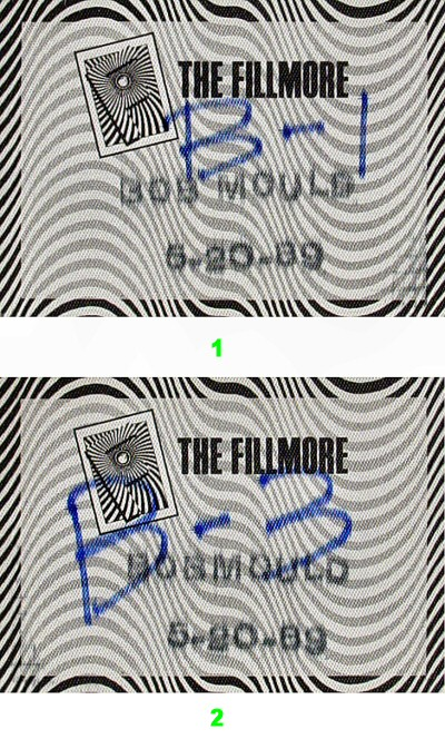 Bob Mould Backstage Pass from Fillmore Auditorium on 20 May 89: Pass 2